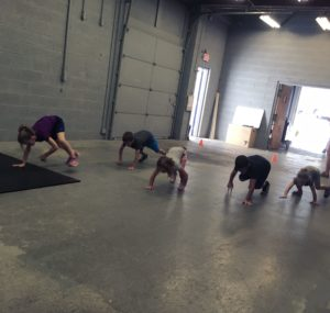 Bear crawl warm ups with maybe a growl or two thrown in
